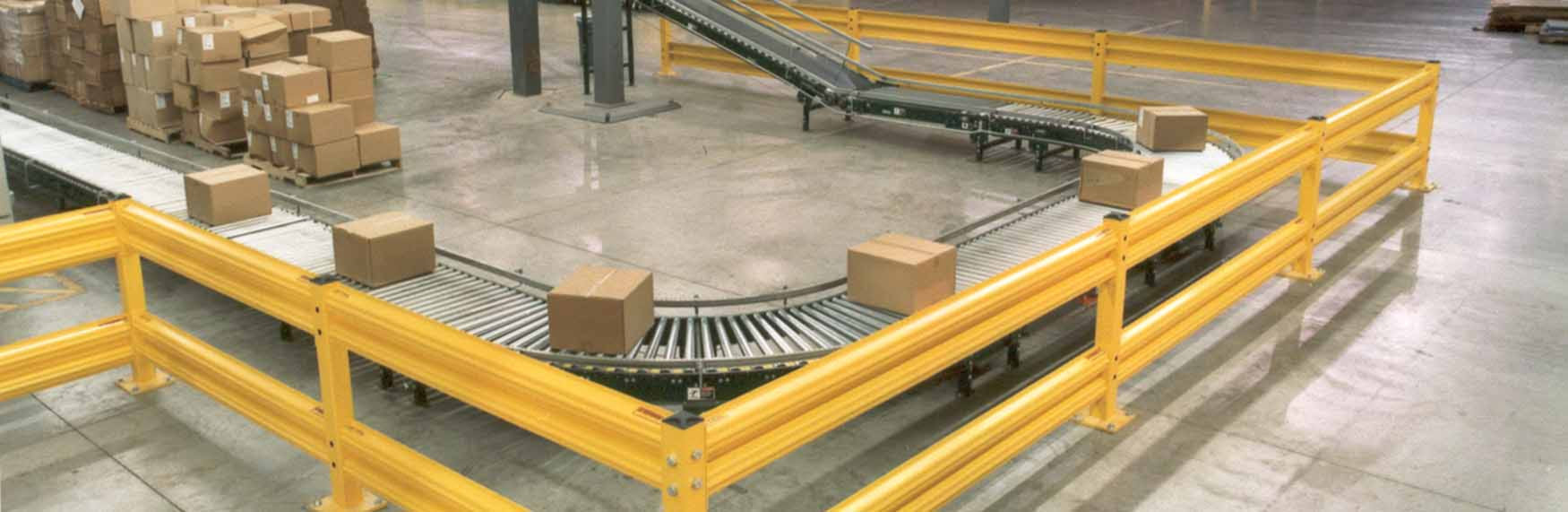 warehouse guardrail barriers protecting conveyor belt