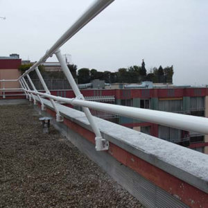 Angled Parapet Railing to Limit Visibility
