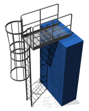 Cage Ladder with Exit Platform