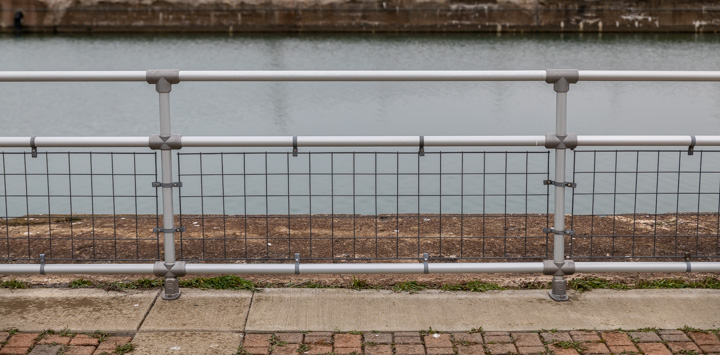 mounted guardrail along canal