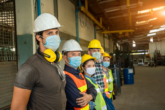 technicians wearing masks