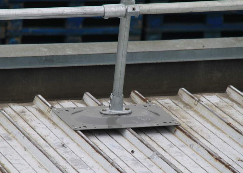 corrugated metal roof railing