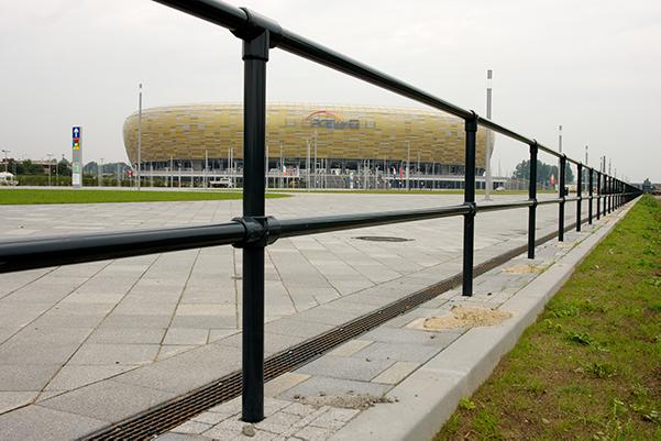 mounted safety railing pedestrian walkway