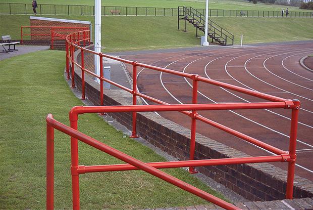 powder coated ground mounted railing on campus