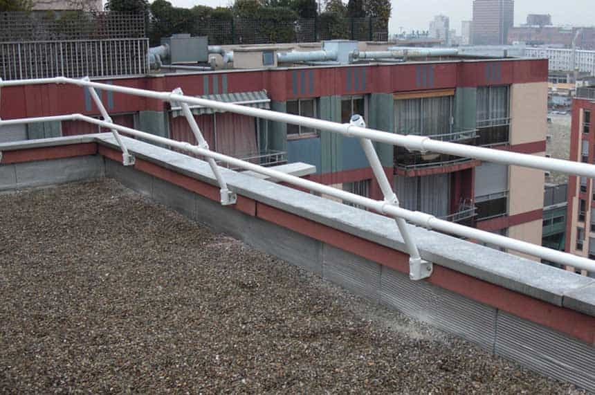 Parapet Mounted Railing in White