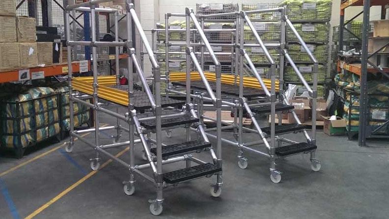 two rolling work platforms