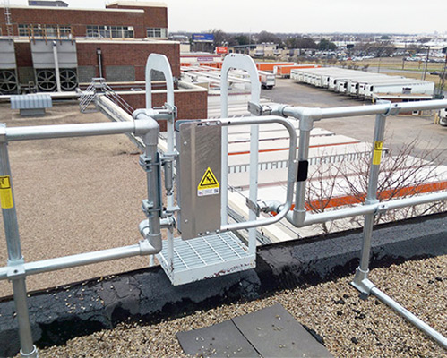self-closing industrial safety gate on roof