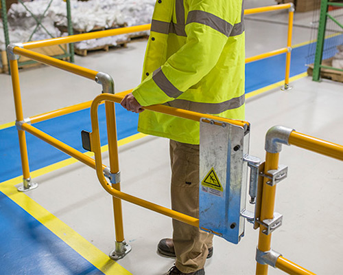 self-closing safety gate in warehouse