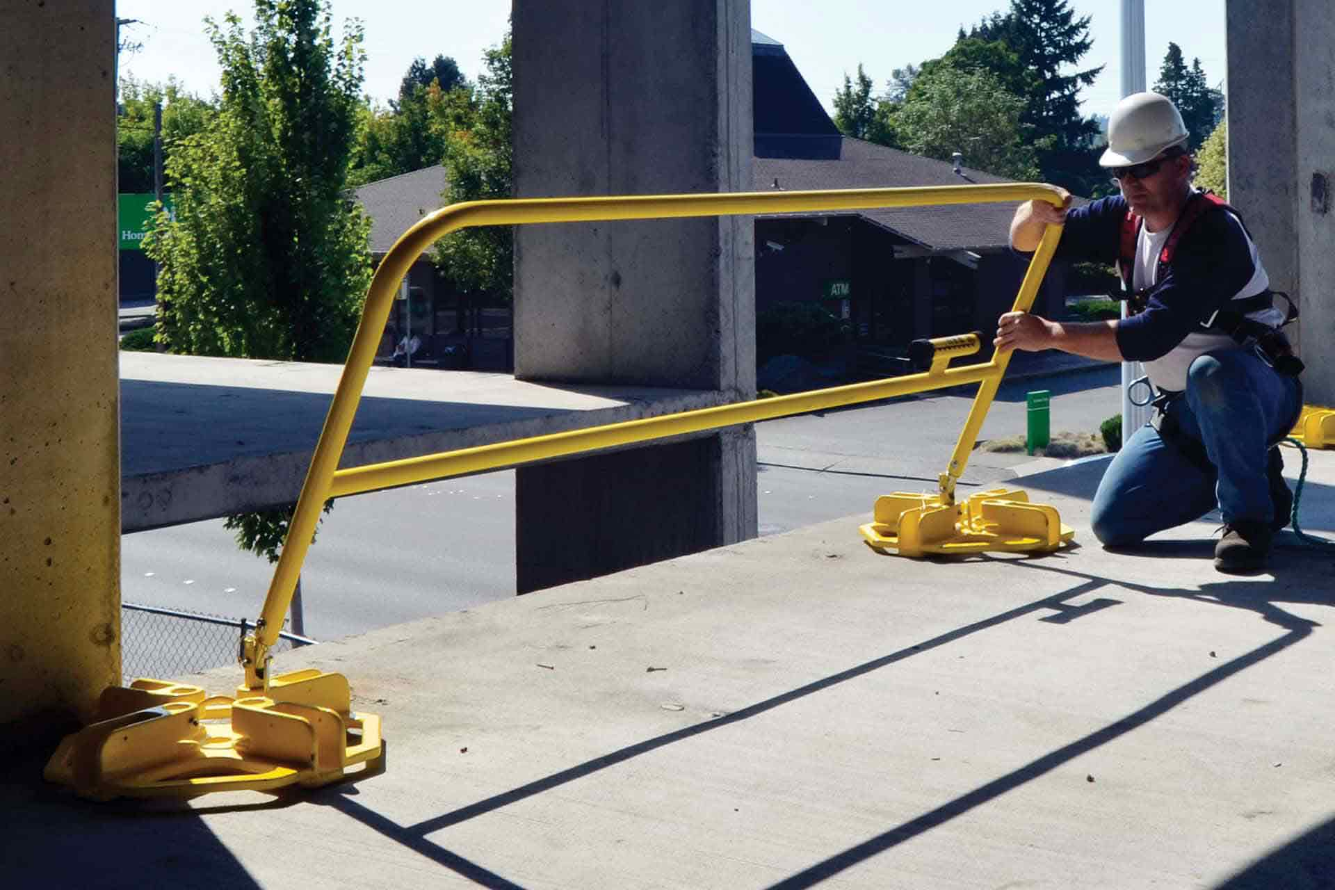 temporary, portable safety railing